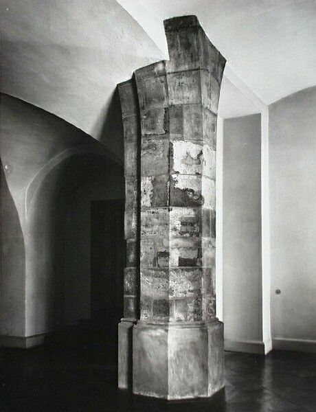 Remains of medieval pillars and wall in No. 64 Úri street, 1940s