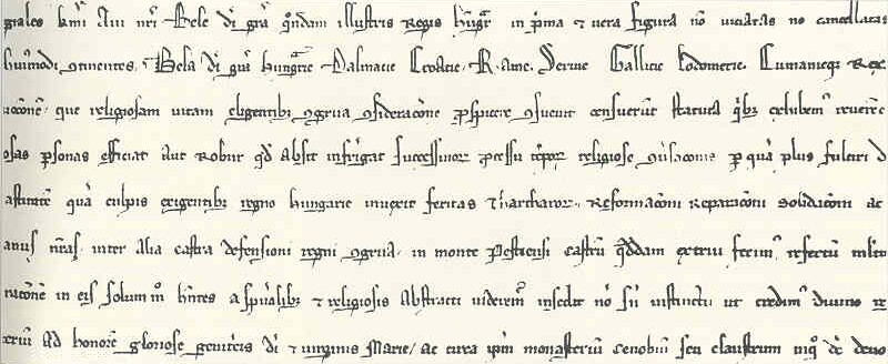 The first mentioning of the Buda Castrum in the 1279 rewriting of Béla IV's charter of 1255