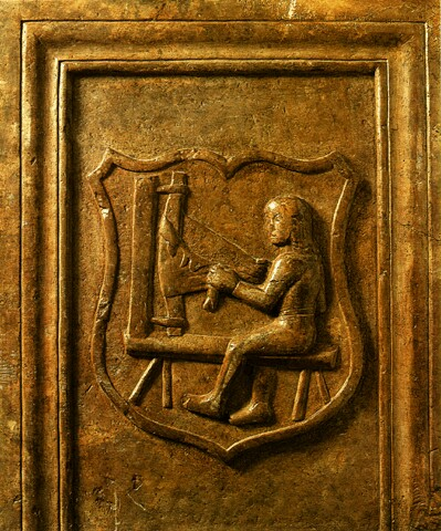 Fragment of a tombstone from Buda representing a tanner master - 15th century