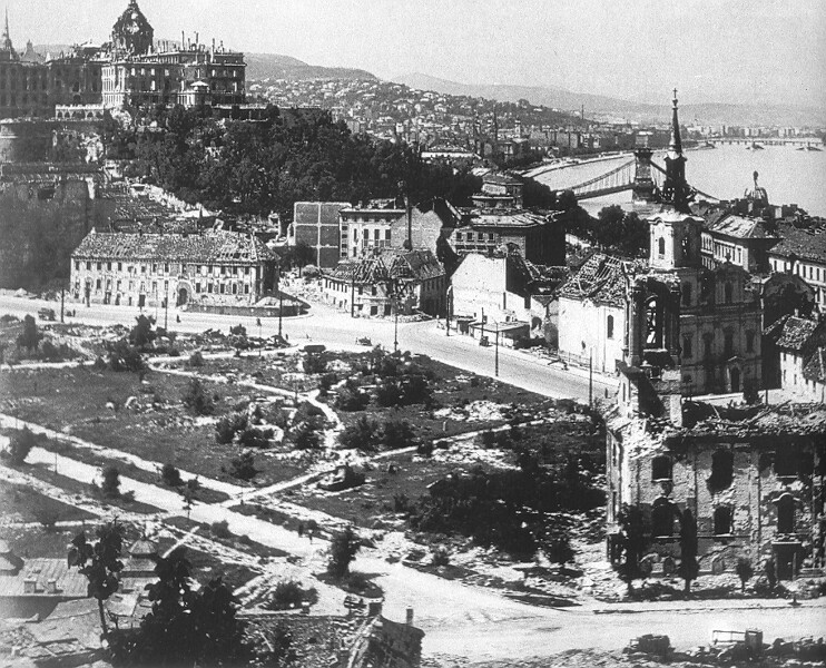 The bombed Buda Castle, spring 1945