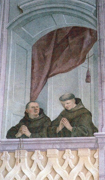 The representation of franciscans on an 18th century wall picture in the church of St Francis's wounds in Buda (Víziváros), Batthány square