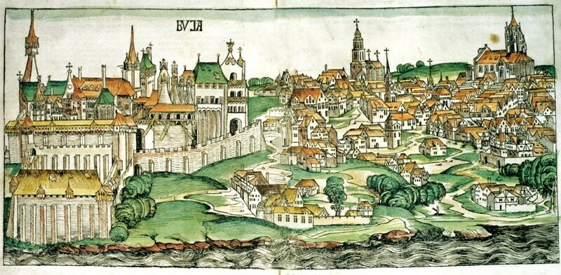 The view of Buda in Hartmann Schedel's Word Chronicle, 1493