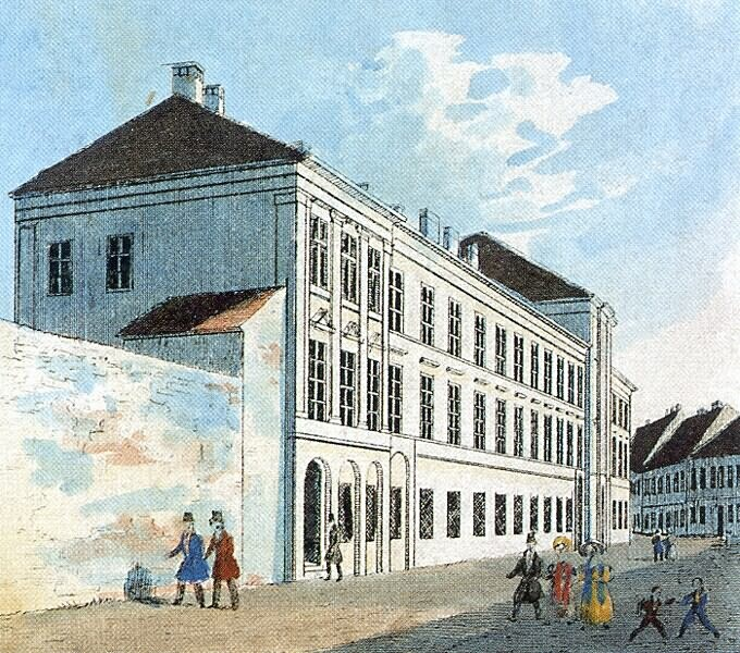 Franz Weiss: The Franciscan convent, then the building of the Council of the Royal Governor in the Castle - coloured lithography
