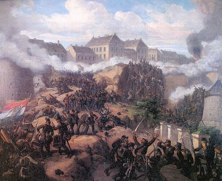 Károly Jakobey: The capture of the Buda Castle, 21 May, 1849 - oil painting 1875