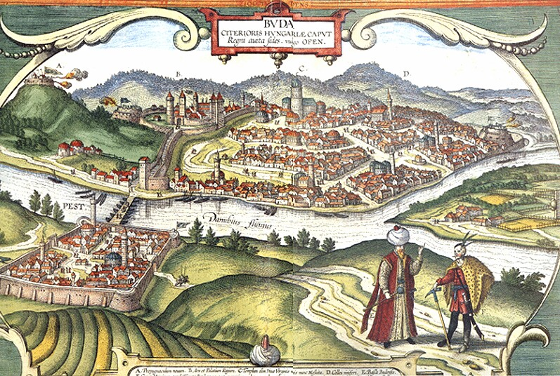 The View of Buda and Pest, 1617 - coloured engraving from Braun-Hagenberg's Civitates orbis terranum