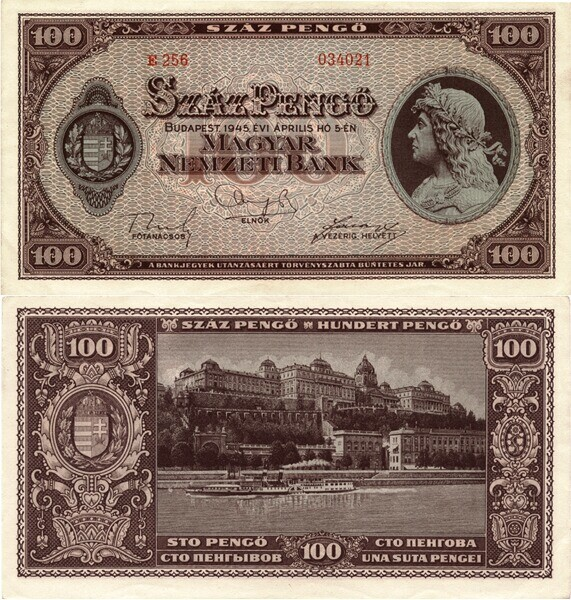 100 pengő note, with the Royal Palace of Buda in the back