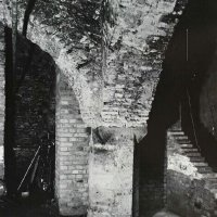 The cellars of No. 7 Bécsi Gates square with remnants of medieval pillars, 1936