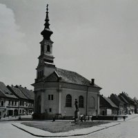The Lutheran church on the Bécsi Gates square, 1960