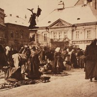 Market in Dísz square in front of the Marcibányi palace, 1895