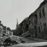 The ruined Fortuna street from the Bécsi Gates square, 1945