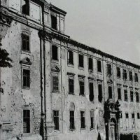 No. 1 Hess András (Ince pápa) square in ruins, 1945