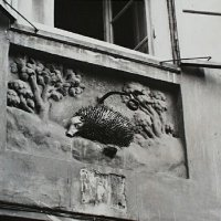 The Red Hedgehog signboard on the wall of No. 3 Hess András (Ince pápa) square, 1938