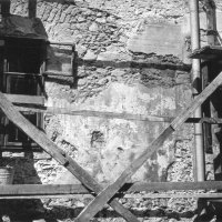 No. 3 Kard street, detail of the main facade during excavation, 1960
