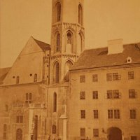 The main facade of Matthias Church before reconstruction, around 1870