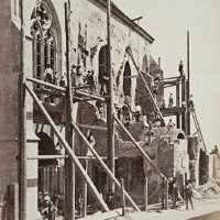 Construction workers at the reconstruction of Matthias Church, around 1890