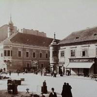 Szentháromság square with the Town Hall of Buda, 1890s