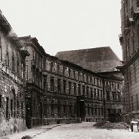 No. 5-7-9 Színház street in ruins, around 1945