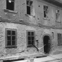 No. 6 Táncsics Mihály street, main facade with medieval and Turkish remains, 1961