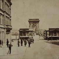 The Buda bridgehead of Chain bridge, 1880s