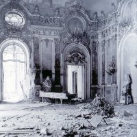 The Habsburg room in ruins in the Buda Castle, 1945