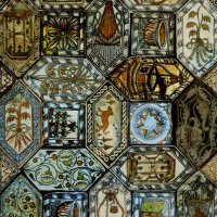 Majolica floor tiles from the Buda Castle