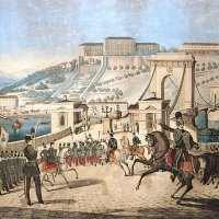 Sámuel Lehnbrandt: The march of the civil garrison of Pest at the Chain Bridge with the Buda Castle in the background