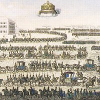 Transporting the Crown to Buda, 1790 - coloured engraving