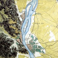 Buda and Pest from the first military survey, 1782
