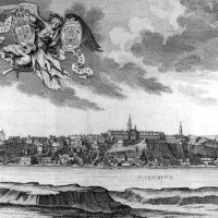 Sámuel Mikovinyi - Andreas and Josef Schmutzer: The view of Buda in the 18th century, with the shield of Buda and Pest - 1737, detail