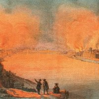 Rohn Alajos: The bombing of Pest from the Castle - coloured lithpgraphy, 1849