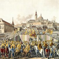 The coronation oath of Francis I in Buda, 1792 - coloured copper engraving