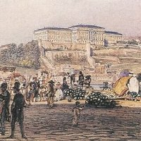 Rudolf Alt: the view of the Royal Palace of Buda from Pest - aquarell
