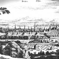 M. Merion: Buda and Pest from the west - with Turkish  buildings, copper engraving, 1638