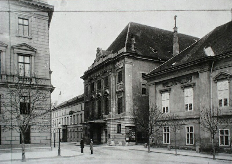 Színház street with the building of Várszínház and the Headquarters of the Army Corps, 1890s