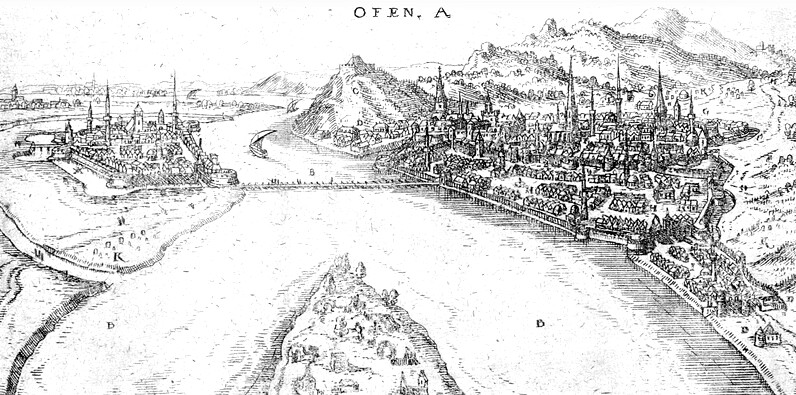 Wilhelm Dillich: Buda and Pest from the direction of the margaret Island - copper engraving, 17th century